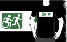 Accessible Exit Sign Project Wheelchair Wheelie Running Man Symbol Means of Egress Icon Disability Emergency Evacuation Fire Safety Adult T-shirt 589