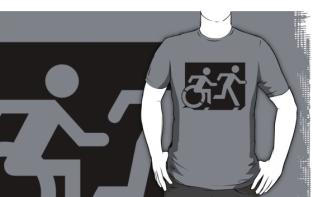 Accessible Exit Sign Project Wheelchair Wheelie Running Man Symbol Means of Egress Icon Disability Emergency Evacuation Fire Safety Adult T-shirt 59