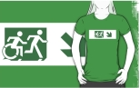 Accessible Exit Sign Project Wheelchair Wheelie Running Man Symbol Means of Egress Icon Disability Emergency Evacuation Fire Safety Adult T-shirt 591