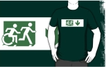 Accessible Exit Sign Project Wheelchair Wheelie Running Man Symbol Means of Egress Icon Disability Emergency Evacuation Fire Safety Adult T-shirt 593