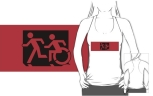 Accessible Exit Sign Project Wheelchair Wheelie Running Man Symbol Means of Egress Icon Disability Emergency Evacuation Fire Safety Adult T-shirt 594