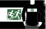 Accessible Exit Sign Project Wheelchair Wheelie Running Man Symbol Means of Egress Icon Disability Emergency Evacuation Fire Safety Adult T-shirt 595