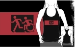 Accessible Exit Sign Project Wheelchair Wheelie Running Man Symbol Means of Egress Icon Disability Emergency Evacuation Fire Safety Adult T-shirt 596