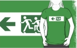 Accessible Exit Sign Project Wheelchair Wheelie Running Man Symbol Means of Egress Icon Disability Emergency Evacuation Fire Safety Adult T-shirt 597