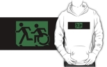 Accessible Exit Sign Project Wheelchair Wheelie Running Man Symbol Means of Egress Icon Disability Emergency Evacuation Fire Safety Adult T-shirt 599