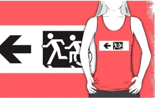 Accessible Exit Sign Project Wheelchair Wheelie Running Man Symbol Means of Egress Icon Disability Emergency Evacuation Fire Safety Adult T-shirt 6