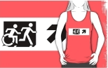 Accessible Exit Sign Project Wheelchair Wheelie Running Man Symbol Means of Egress Icon Disability Emergency Evacuation Fire Safety Adult T-shirt 60