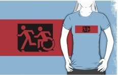 Accessible Exit Sign Project Wheelchair Wheelie Running Man Symbol Means of Egress Icon Disability Emergency Evacuation Fire Safety Adult T-shirt 601