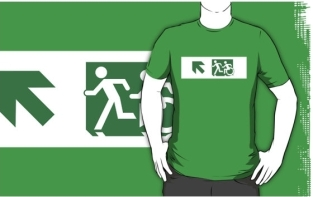 Accessible Exit Sign Project Wheelchair Wheelie Running Man Symbol Means of Egress Icon Disability Emergency Evacuation Fire Safety Adult T-shirt 602