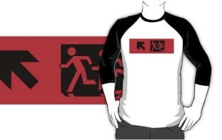 Accessible Exit Sign Project Wheelchair Wheelie Running Man Symbol Means of Egress Icon Disability Emergency Evacuation Fire Safety Adult T-shirt 603