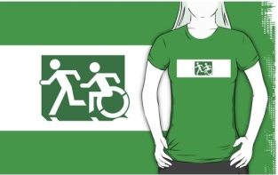 Accessible Exit Sign Project Wheelchair Wheelie Running Man Symbol Means of Egress Icon Disability Emergency Evacuation Fire Safety Adult T-shirt 608