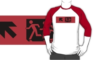 Accessible Exit Sign Project Wheelchair Wheelie Running Man Symbol Means of Egress Icon Disability Emergency Evacuation Fire Safety Adult T-shirt 609