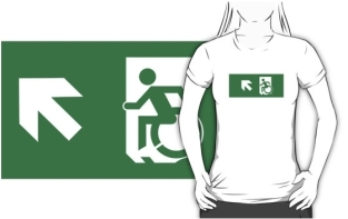 Accessible Exit Sign Project Wheelchair Wheelie Running Man Symbol Means of Egress Icon Disability Emergency Evacuation Fire Safety Adult t-shirt 61