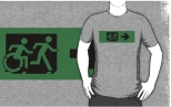 Accessible Exit Sign Project Wheelchair Wheelie Running Man Symbol Means of Egress Icon Disability Emergency Evacuation Fire Safety Adult T-shirt 612