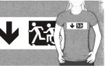 Accessible Exit Sign Project Wheelchair Wheelie Running Man Symbol Means of Egress Icon Disability Emergency Evacuation Fire Safety Adult T-shirt 613