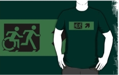 Accessible Exit Sign Project Wheelchair Wheelie Running Man Symbol Means of Egress Icon Disability Emergency Evacuation Fire Safety Adult T-shirt 614