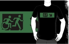 Accessible Exit Sign Project Wheelchair Wheelie Running Man Symbol Means of Egress Icon Disability Emergency Evacuation Fire Safety Adult T-shirt 616