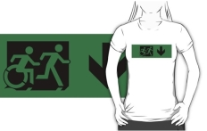 Accessible Exit Sign Project Wheelchair Wheelie Running Man Symbol Means of Egress Icon Disability Emergency Evacuation Fire Safety Adult T-shirt 618