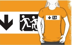 Accessible Exit Sign Project Wheelchair Wheelie Running Man Symbol Means of Egress Icon Disability Emergency Evacuation Fire Safety Adult T-shirt 619