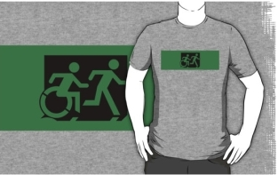 Accessible Exit Sign Project Wheelchair Wheelie Running Man Symbol Means of Egress Icon Disability Emergency Evacuation Fire Safety Adult T-shirt 620