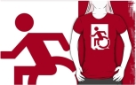 Accessible Exit Sign Project Wheelchair Wheelie Running Man Symbol Means of Egress Icon Disability Emergency Evacuation Fire Safety Adult t-shirt 62