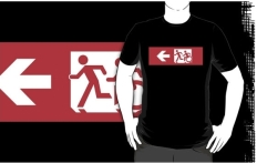 Accessible Exit Sign Project Wheelchair Wheelie Running Man Symbol Means of Egress Icon Disability Emergency Evacuation Fire Safety Adult T-shirt 621