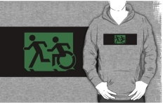 Accessible Exit Sign Project Wheelchair Wheelie Running Man Symbol Means of Egress Icon Disability Emergency Evacuation Fire Safety Adult T-shirt 622