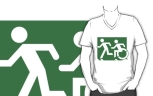 Accessible Exit Sign Project Wheelchair Wheelie Running Man Symbol Means of Egress Icon Disability Emergency Evacuation Fire Safety Adult T-shirt 623