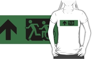 Accessible Exit Sign Project Wheelchair Wheelie Running Man Symbol Means of Egress Icon Disability Emergency Evacuation Fire Safety Adult T-shirt 625