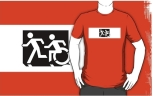Accessible Exit Sign Project Wheelchair Wheelie Running Man Symbol Means of Egress Icon Disability Emergency Evacuation Fire Safety Adult T-shirt 626