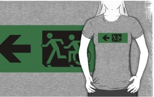 Accessible Exit Sign Project Wheelchair Wheelie Running Man Symbol Means of Egress Icon Disability Emergency Evacuation Fire Safety Adult T-shirt 627