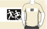 Accessible Exit Sign Project Wheelchair Wheelie Running Man Symbol Means of Egress Icon Disability Emergency Evacuation Fire Safety Adult T-shirt 628