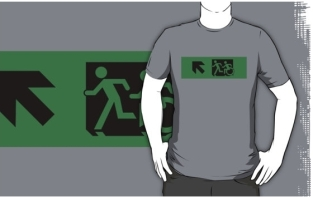 Accessible Exit Sign Project Wheelchair Wheelie Running Man Symbol Means of Egress Icon Disability Emergency Evacuation Fire Safety Adult T-shirt 629