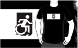 Accessible Exit Sign Project Wheelchair Wheelie Running Man Symbol Means of Egress Icon Disability Emergency Evacuation Fire Safety Adult t-shirt 63