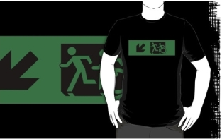 Accessible Exit Sign Project Wheelchair Wheelie Running Man Symbol Means of Egress Icon Disability Emergency Evacuation Fire Safety Adult T-shirt 631
