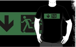 Accessible Exit Sign Project Wheelchair Wheelie Running Man Symbol Means of Egress Icon Disability Emergency Evacuation Fire Safety Adult T-shirt 633