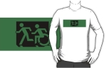 Accessible Exit Sign Project Wheelchair Wheelie Running Man Symbol Means of Egress Icon Disability Emergency Evacuation Fire Safety Adult T-shirt 635