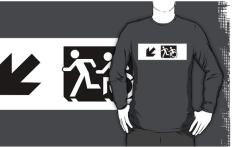 Accessible Exit Sign Project Wheelchair Wheelie Running Man Symbol Means of Egress Icon Disability Emergency Evacuation Fire Safety Adult T-shirt 636