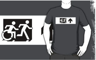 Accessible Exit Sign Project Wheelchair Wheelie Running Man Symbol Means of Egress Icon Disability Emergency Evacuation Fire Safety Adult T-shirt 637