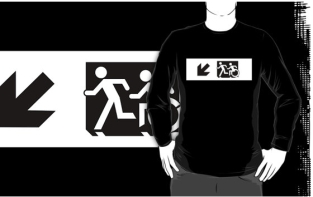 Accessible Exit Sign Project Wheelchair Wheelie Running Man Symbol Means of Egress Icon Disability Emergency Evacuation Fire Safety Adult T-shirt 638