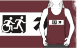 Accessible Exit Sign Project Wheelchair Wheelie Running Man Symbol Means of Egress Icon Disability Emergency Evacuation Fire Safety Adult T-shirt 64