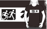 Accessible Exit Sign Project Wheelchair Wheelie Running Man Symbol Means of Egress Icon Disability Emergency Evacuation Fire Safety Adult T-shirt 641
