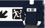 Accessible Exit Sign Project Wheelchair Wheelie Running Man Symbol Means of Egress Icon Disability Emergency Evacuation Fire Safety Adult T-shirt 642