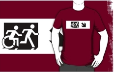 Accessible Exit Sign Project Wheelchair Wheelie Running Man Symbol Means of Egress Icon Disability Emergency Evacuation Fire Safety Adult T-shirt 643