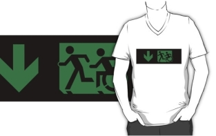Accessible Exit Sign Project Wheelchair Wheelie Running Man Symbol Means of Egress Icon Disability Emergency Evacuation Fire Safety Adult T-shirt 645