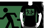 Accessible Exit Sign Project Wheelchair Wheelie Running Man Symbol Means of Egress Icon Disability Emergency Evacuation Fire Safety Adult T-shirt 646