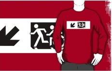 Accessible Exit Sign Project Wheelchair Wheelie Running Man Symbol Means of Egress Icon Disability Emergency Evacuation Fire Safety Adult T-shirt 647