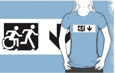 Accessible Exit Sign Project Wheelchair Wheelie Running Man Symbol Means of Egress Icon Disability Emergency Evacuation Fire Safety Adult T-shirt 648