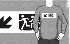 Accessible Exit Sign Project Wheelchair Wheelie Running Man Symbol Means of Egress Icon Disability Emergency Evacuation Fire Safety Adult T-shirt 649