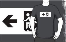 Accessible Exit Sign Project Wheelchair Wheelie Running Man Symbol Means of Egress Icon Disability Emergency Evacuation Fire Safety Adult t-shirt 65